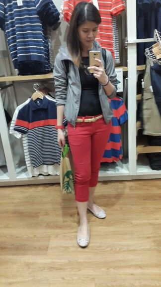 97a9bb5281 Jacket - Uniqlo | Sleeveless lace top - H&M | Quarter pants with belt -  Elle | Ribbon Flats - Forever21 | Watch - Swatch