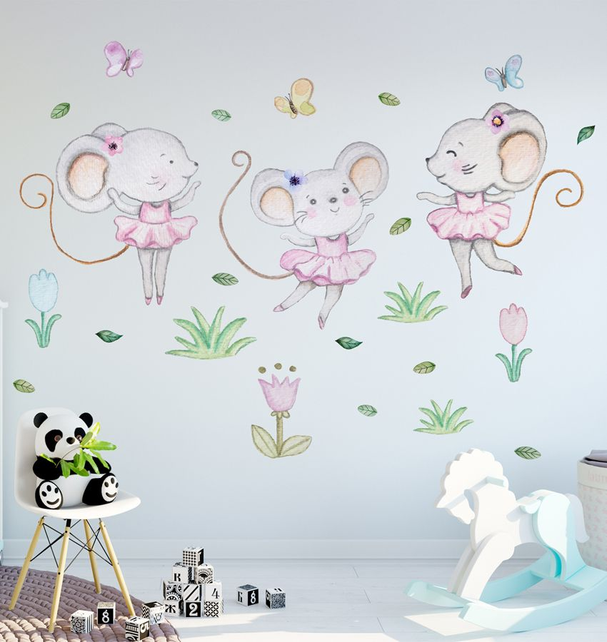Little Girl Wall Decal Mouse Stickers Girl Mouse Nursery Wall Decor Baby Girl Nursery Wa Nursery Wall Decals Girl Wall Stickers Baby Girl Nursery Wall Stickers