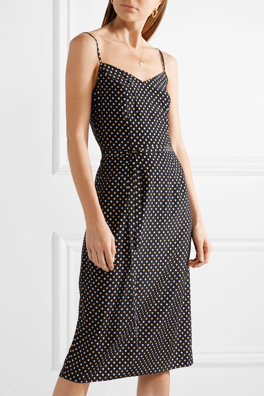 Lily Metallic Polka-dot Silk Crepe De Chine Dress - Black HVN 3pcCUddFoK