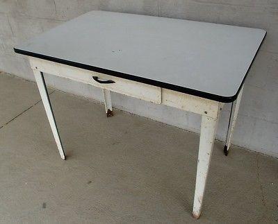 Vintage Enamel Top Farm Table One Drawer All Metal Vintage