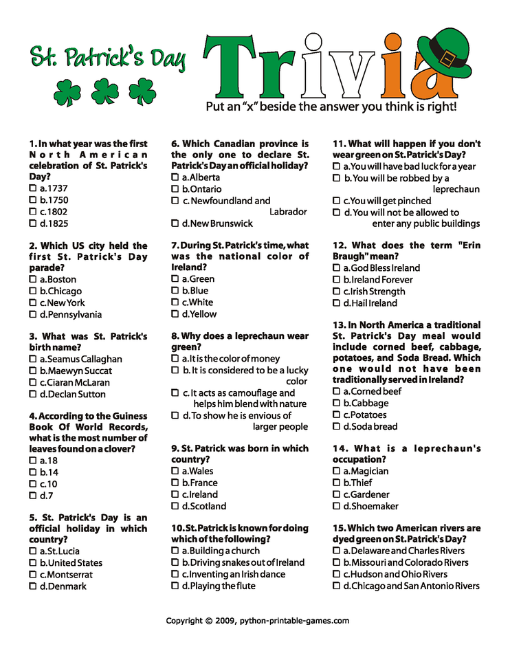 stpatricksdaytriviaPage1X2 Projects to Try – Free Printable St Patrick Day Worksheets