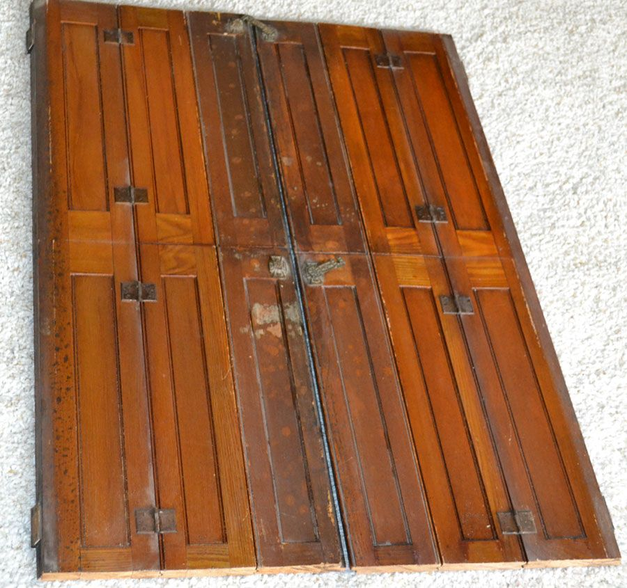ANtique Arts Crafts Mission Oak Cathedral Interior Window Shutters