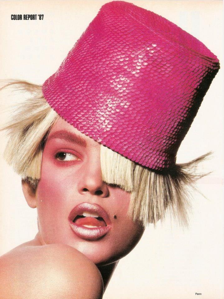 Photo Irving Penn Models Linda Evangelista, Christy Turlington, Cindy Crawford, Louise Vyent & Unknowns Hair John Sahag Makeup Kevyn Aucoin source: justaguy@tFS — US Vogue October 1987 Color Report '87: Hot Shots