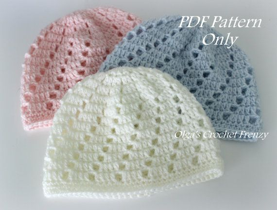 Baby Beanie Hat Crochet Pattern, Beginner Skill Level, Size 0-3 ...