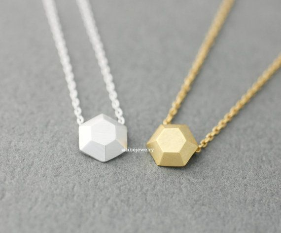 3D Tiny Hexagon charm pendant necklace in gold / by zizibejewelry