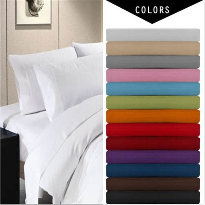 Deep Pocket 4 Piece Bed Sheet Set Solid Bedding Set Include Flat Sheet Fitted Sheet Pillowcase Super King Queen Twi In 2020 Bed Sheet Sets Fitted Bed Sheets Bed Sheets