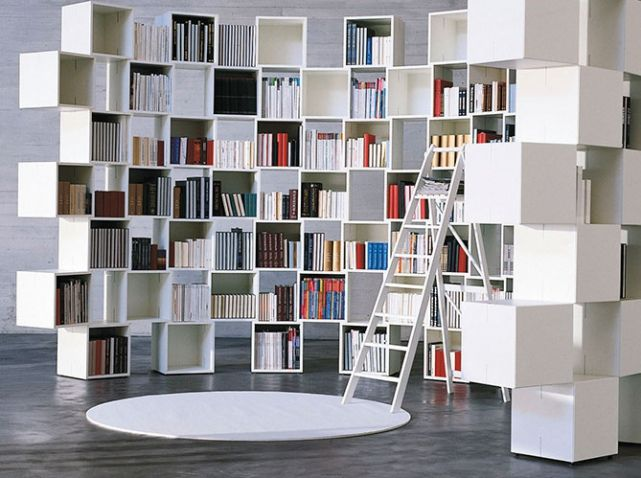 Cloison bibliotheque home d cor pinterest salons and storage - Bibliotheque modulable ikea ...
