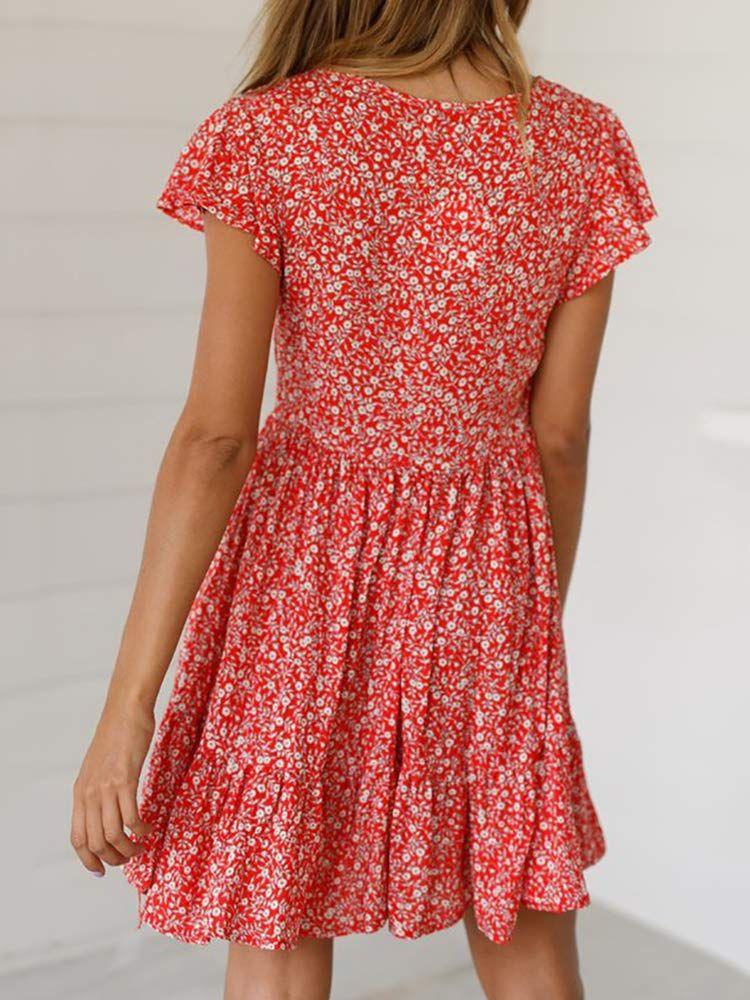 216e5d1ee694 Jeanewpole1 Womens Floral T Shirt Dresses Short Sleeve Button Down Ruffles  Party Mini Dresses