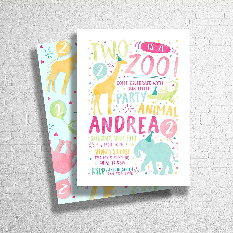 Two Is A Zoo Birthday Invitation | Party Animal Invitation | Zoo ...