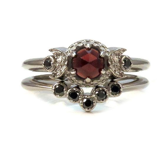 Victorian Gothic Engagement Ring Set Garnet and Black Diamonds