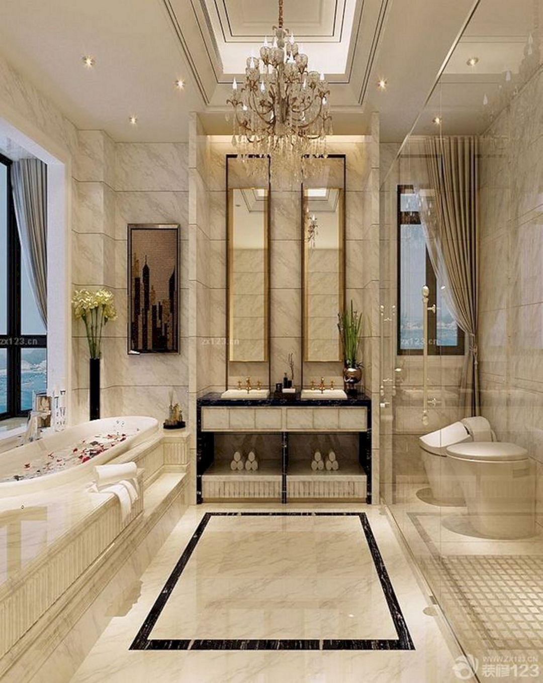 luxurious cool master bathroom design ideas for your big