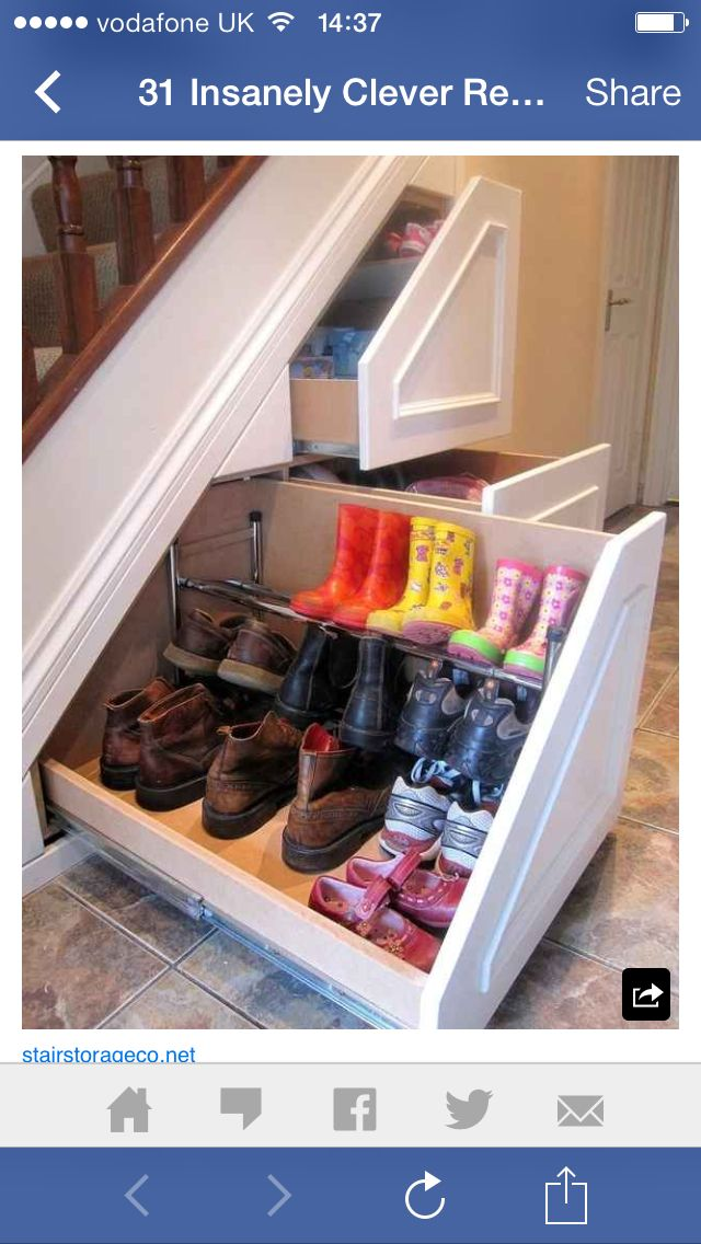 Hidden under stair storage - shoe rack Cozy nook in 2018 Home