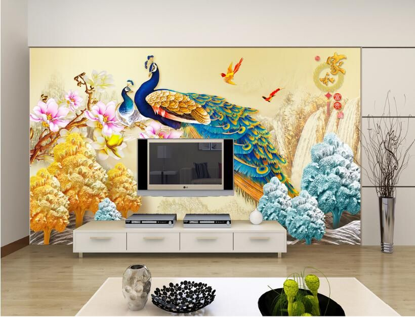 peacock chinese 3d wall sticker forliving room wall art wall