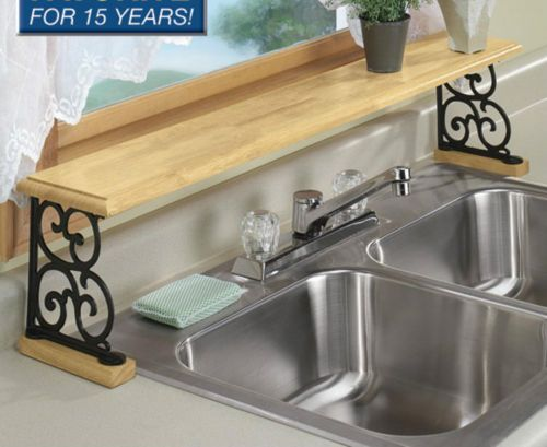 Solid Wood Iron Kitchen Bathroom Counter OVER THE SINK Shelf - Bathroom counter shelf organizer