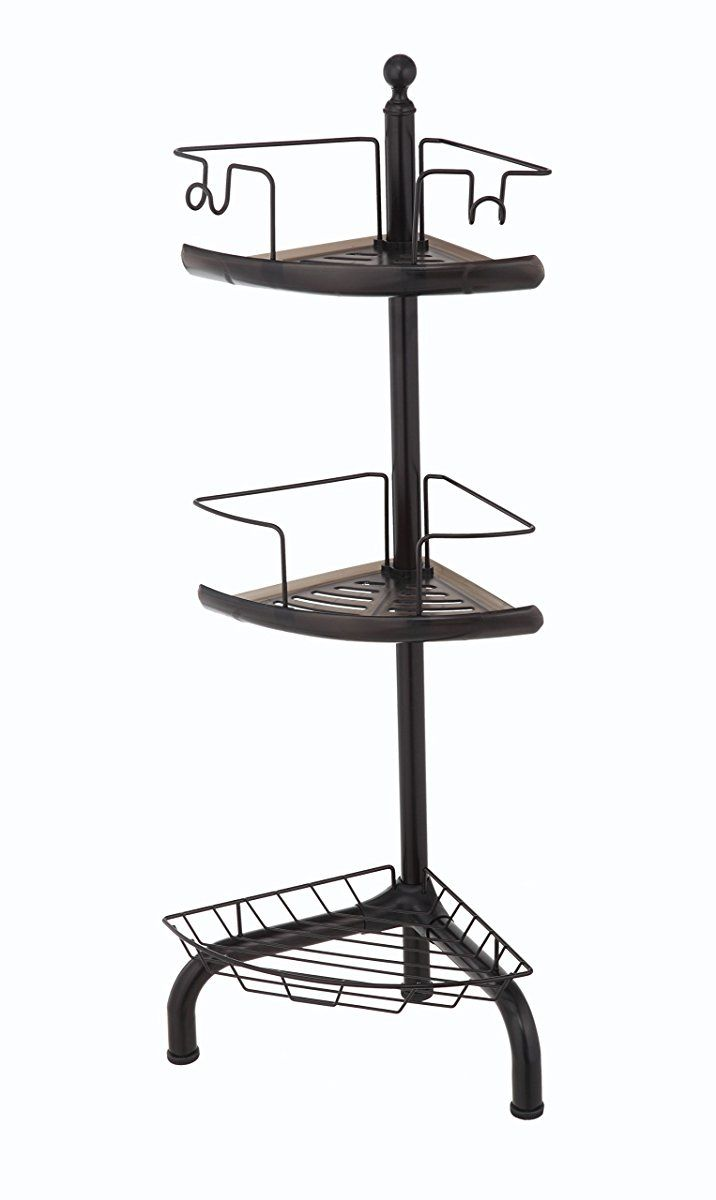 HomeZone 3 Tier Adjustable Corner Shower Caddy, Oil-Rubbed Bronze ...