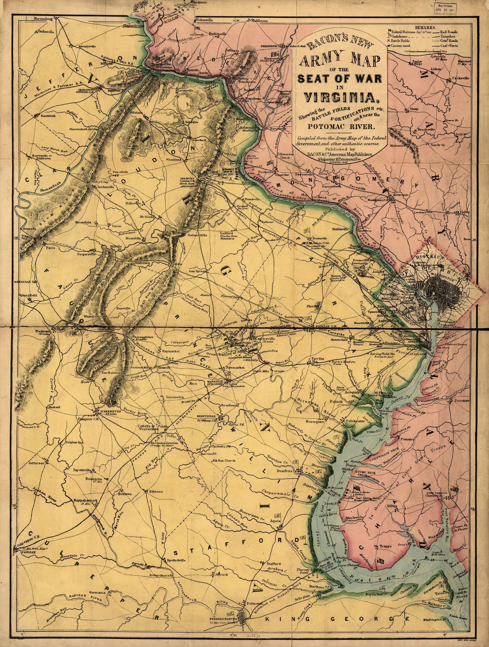 Bacons New Army Map Of The Seat Of War In Virginia Showing The - Washington dc map civil war