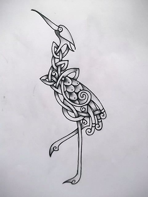 Celtic Crane Tattoo Wip By Tattoo Design On Deviantart Crane Tattoo Bird Design Tattoo Heron Tattoo