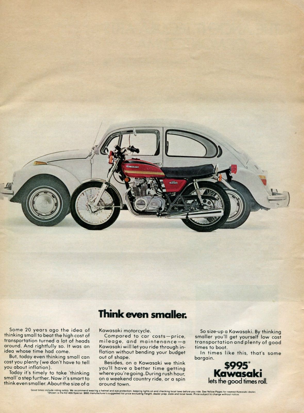 1975 KAWASAKI VW Beetle Size Comparison Motorcycle Retro