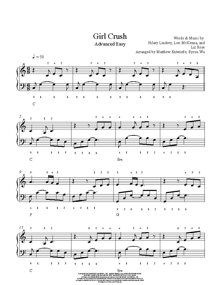Girl crush by little big town piano sheet music advanced level girl crush by little big town piano sheet music advanced level hexwebz Gallery