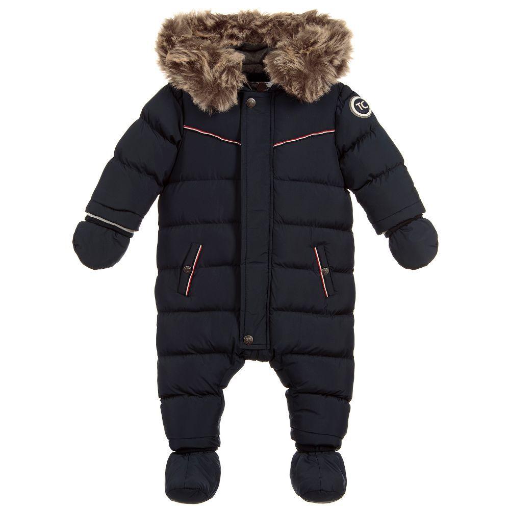 251f2f90cd5b Navy Blue Puffer Baby Snowsuit for Boy by Tartine et Chocolat ...