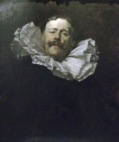 """Ferdinand Roybet: """"Portrait du peintre Antoine Guillemet"""", 1899, Oil on wood, H. 0805; L. 0.64 m. - Size with frame: H. .1082;. L. 0,925 m, Musee-Orsay, Paris."""