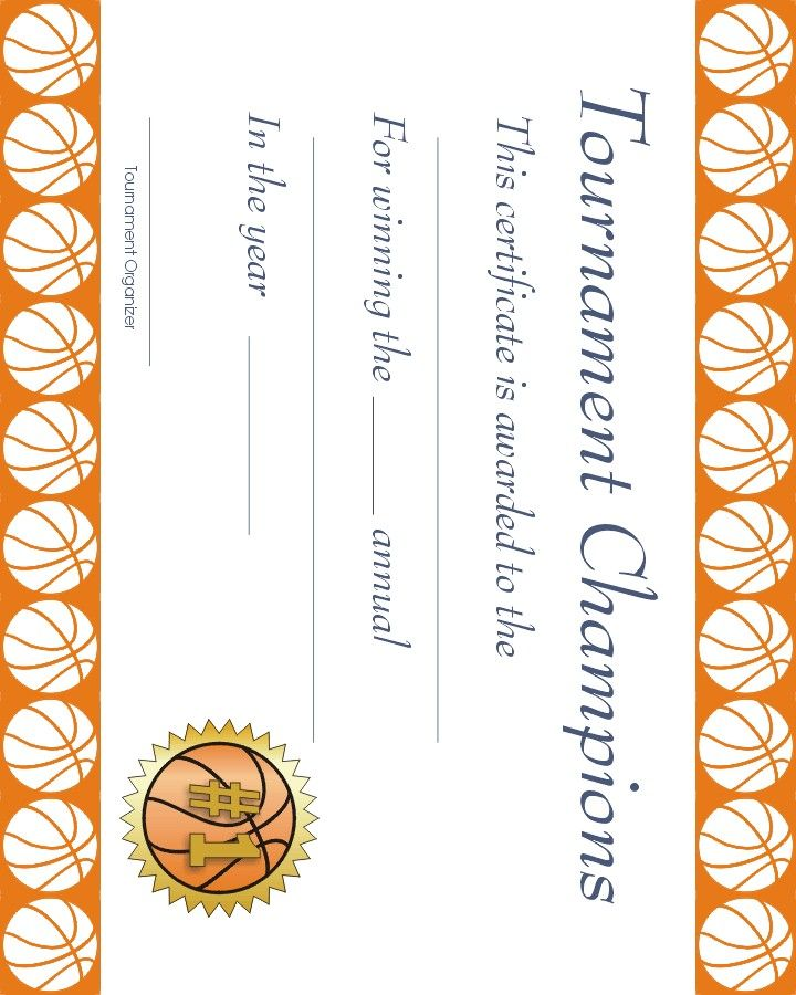 Free Printable Sports Certificate Basketball Award  Basketball