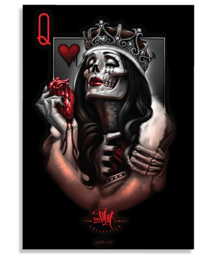 Image Result For Queen Of Hearts Card Tattoo Day Of The Dead