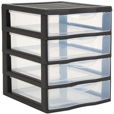 tour de rangement plastique 4 tiroirs a6 noir rangement. Black Bedroom Furniture Sets. Home Design Ideas