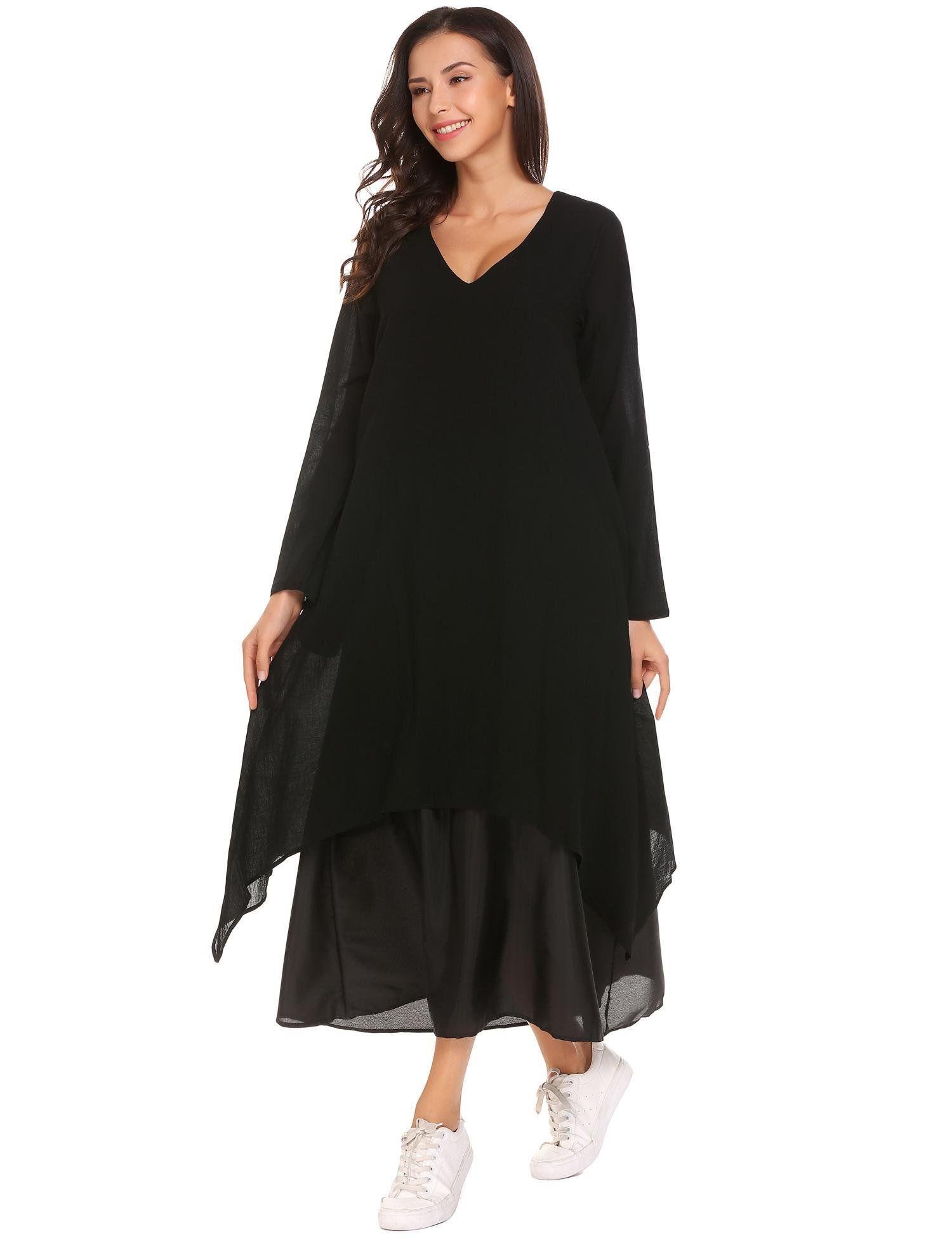 Elover women v neck boho long maxi dress vintage loose long sleeve