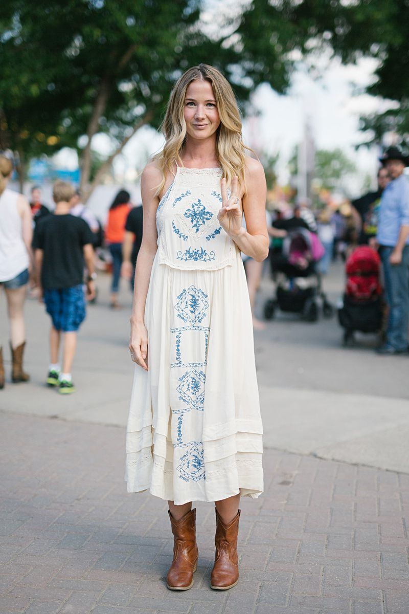Long Dress with Cowboy Boots