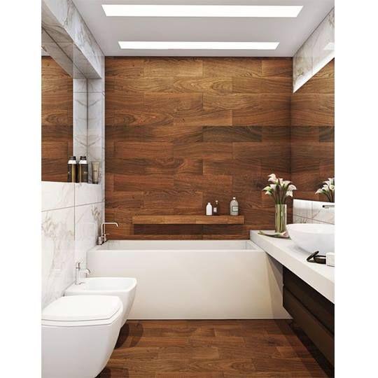 Wood Wall In Bathroom. Shelf Above Bathtub