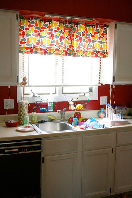 Kitchen Curtains Ooh - like the bright colors and the cut ...