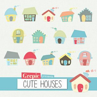 Houses Clip Art Digital Clipart Cute Houses Pack With Hand Drawn Colorful Homes Forming A Village Cute House Cute Little Houses Drawing For Kids