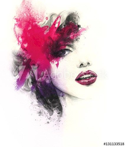 Abstract Woman Face. Fashion Illustration. Watercolor