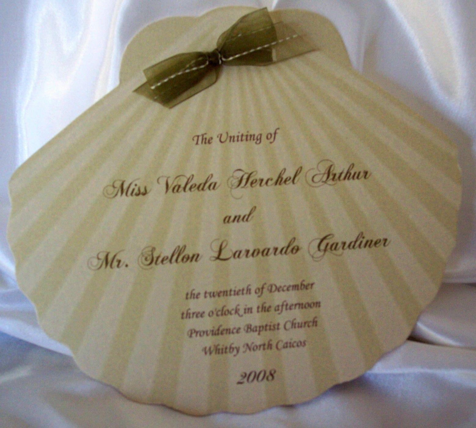 Wedding Invitations Fan Programs | Designs By Ginny: Custom Cut Shell  Shaped Wedding Program