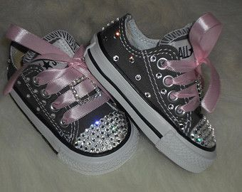 3308b3e2247d Baby infant toddler Converse Chuck Taylors Swarovski Crystals Bling SHOES  ALLSTAR rhinestone Pageant princess PHOTO Prop girl gray pink