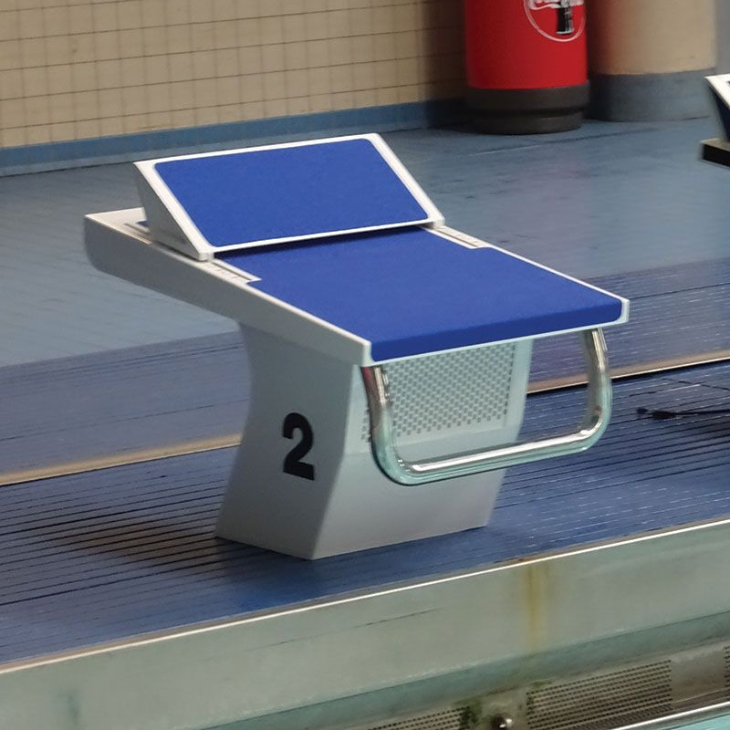 the olympic style pedestal starting block designed for raised end swimming pools features a hanging back - Olympic Swimming Starting Blocks