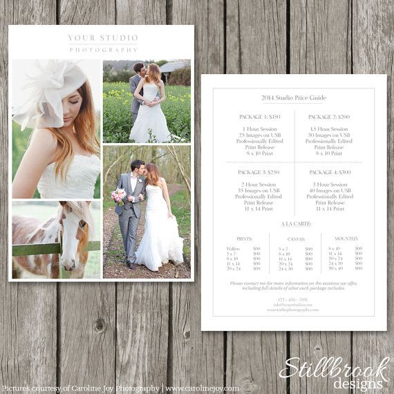Photography Price List Template Wedding By Stillbrookdesigns