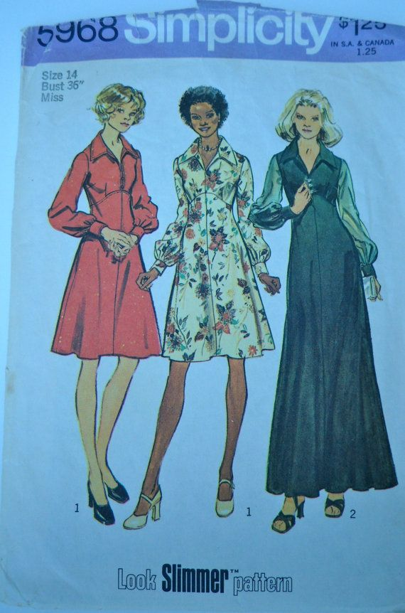 SALE Simplicity 1973 Misses and Women's Dress in Two Lengths Bust 36