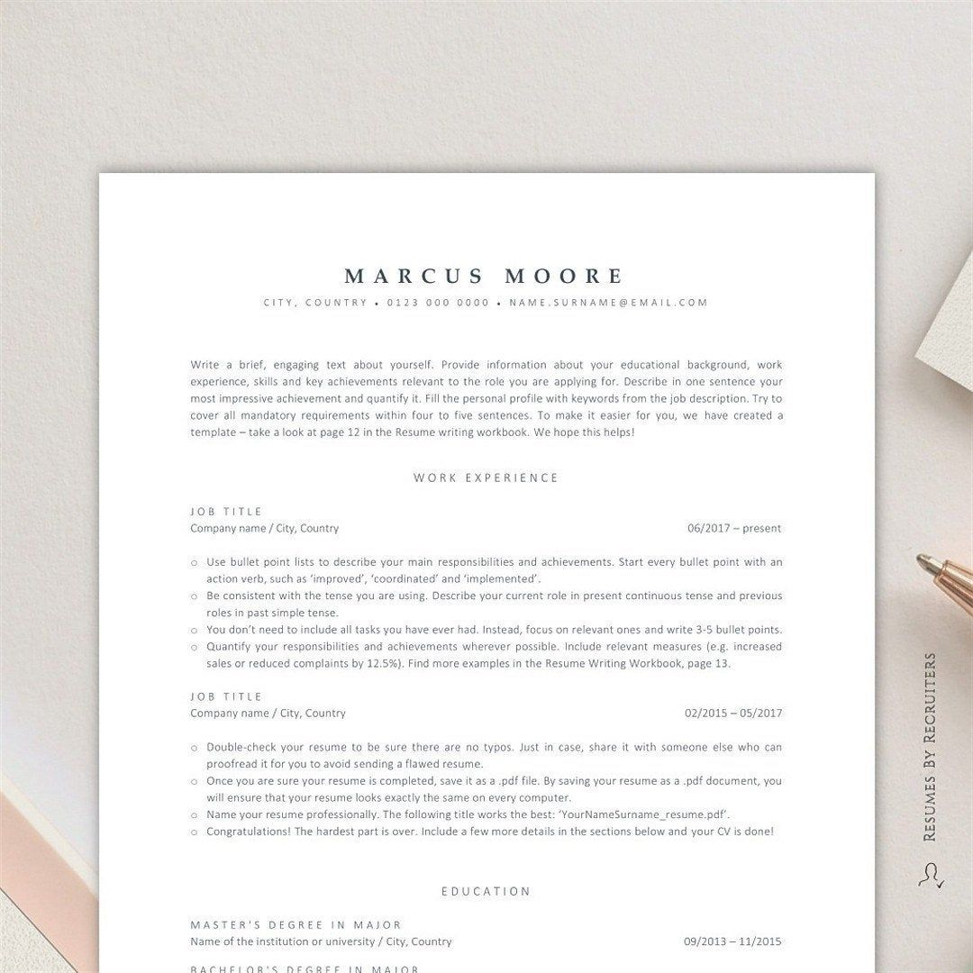 ATS Resume Template for Word, Instant Download ATS