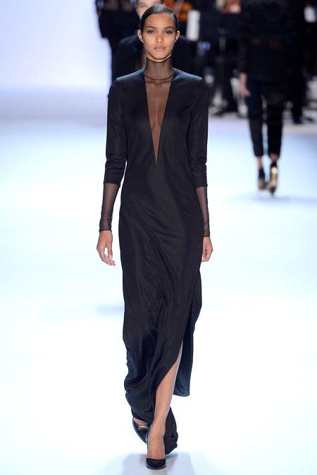 Simple & Sheer Deep V Black Dress I Akris Fall Winter 2013 #Fashion #fall2013 #Trend
