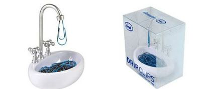 Drip Clips... cool desk accessory to hold droplet shaped paperclips.