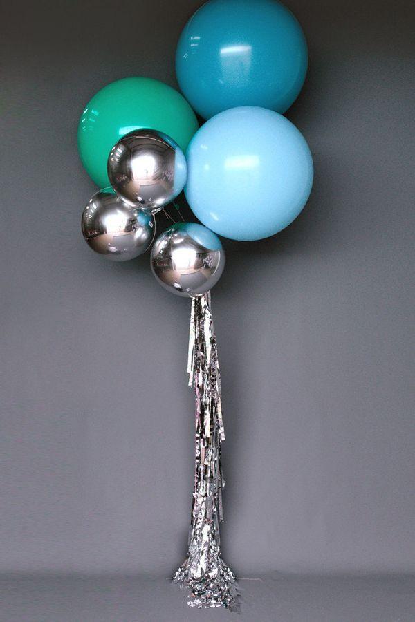 3552ef20ba3 modern party balloons. Love these silver metallic balloons.