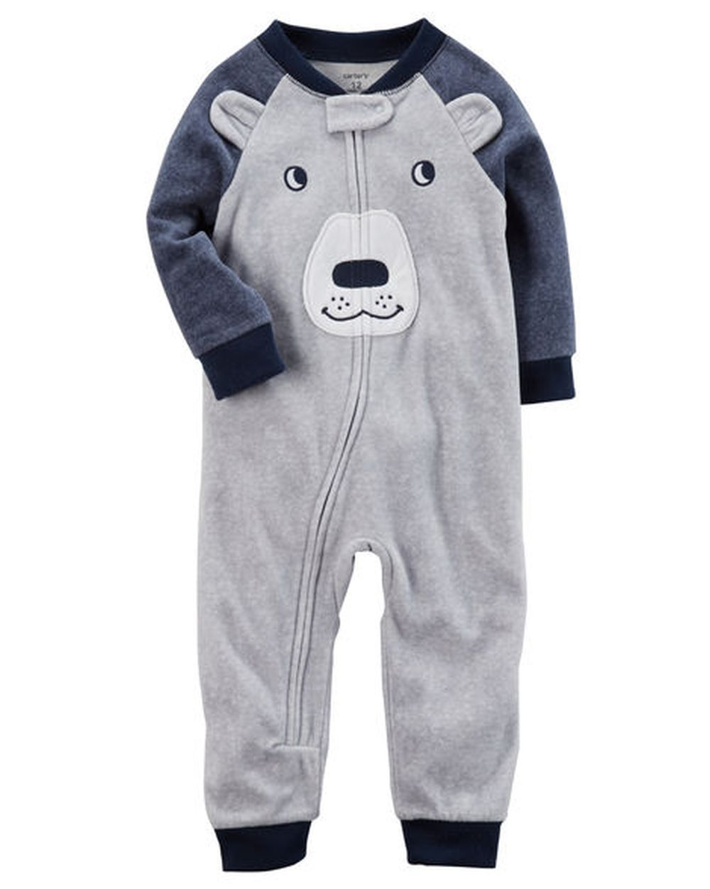 35e87c7ff  14 - Carter s 1 Piece Fleece Bear Face Gray Blue Pjs Boys Nwt 12M ...