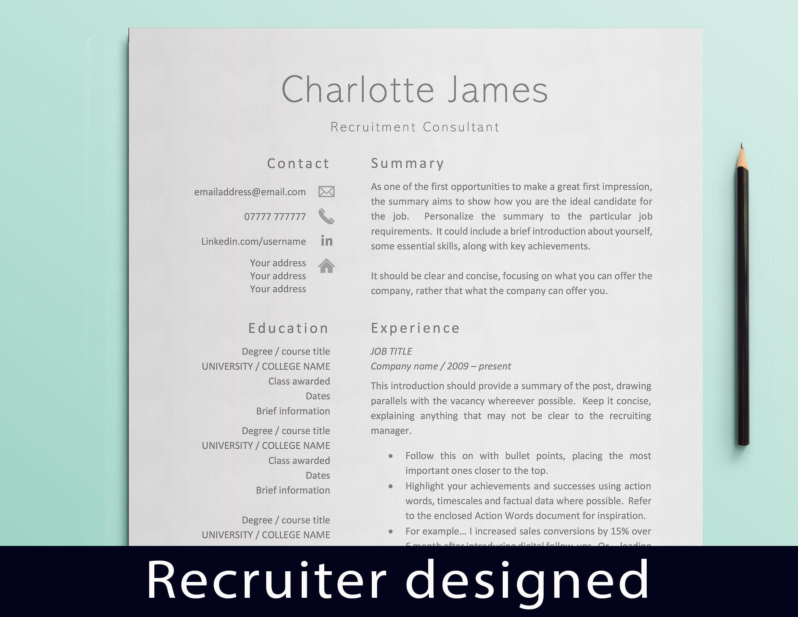 Curriculum Vitae CV Template Resume Template Recruitment