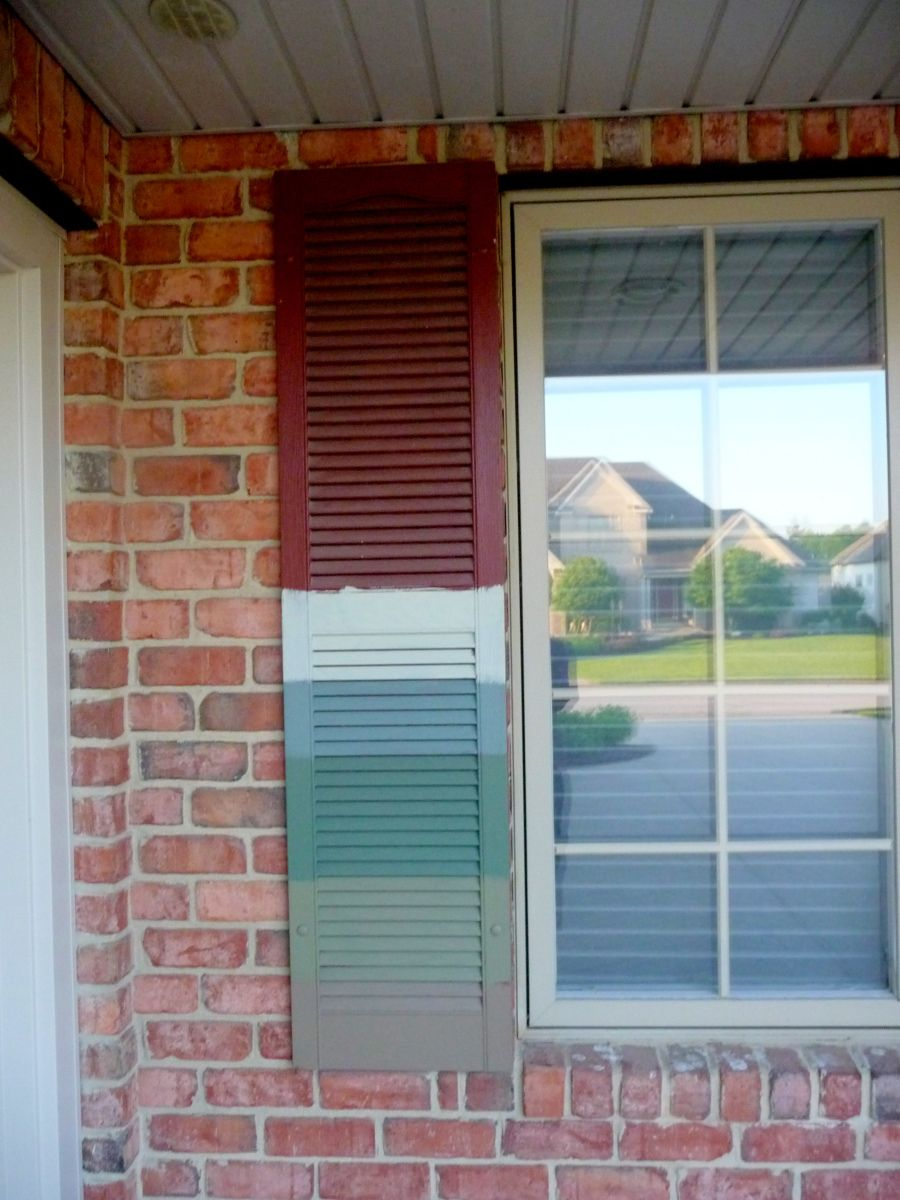 Paint Samples On Shutter Brick Exterior House Red Brick House