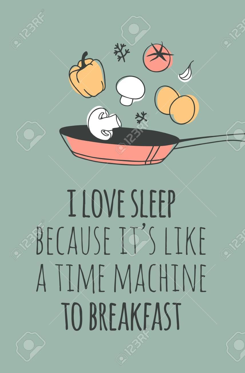 Hand drawn objects about Sleep Routines and text.Vector Cozy Illustration Breakf...