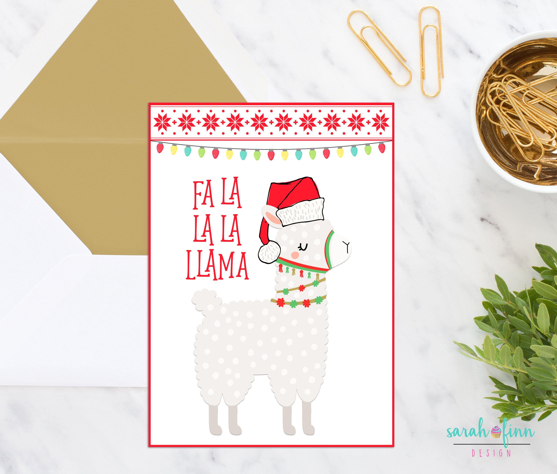 Llama Christmas Card Printable Card Fa La La Llama Instant