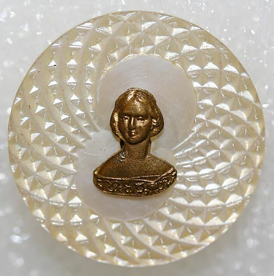 1850s brass & mother-of-pearl button.