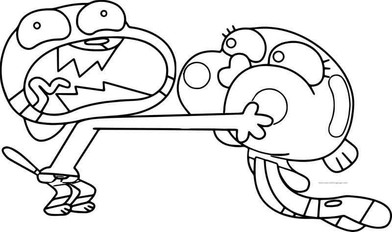 Darwin Gumball No Talk Please Coloring Page Coloring Pages Cartoon Coloring Pages Coloring Pages For Boys